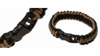 Black/Coyote Paracord Survival Bracelet - Large