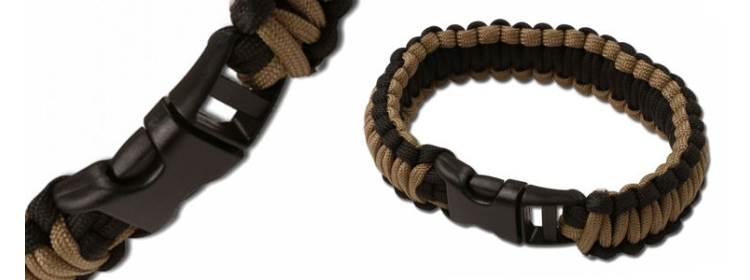 Black/Coyote Paracord Survival Bracelet - Large