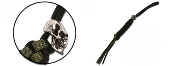 Skull Trinket w/Black and Green Lanyard - TL-001SK -