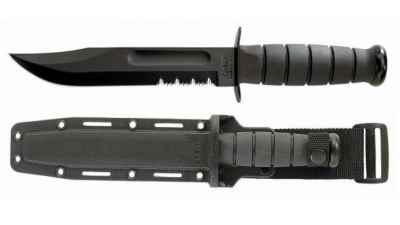 Serrated Black Knife - Hard Sheath