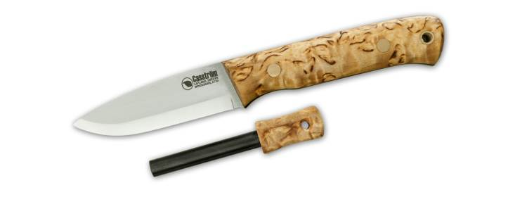 Curly Birch Woodsman Knife with Firesteel