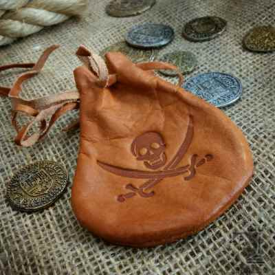 Pirate Leather Pouch with Coins