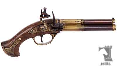 3 Barrel Flintlock Pistol