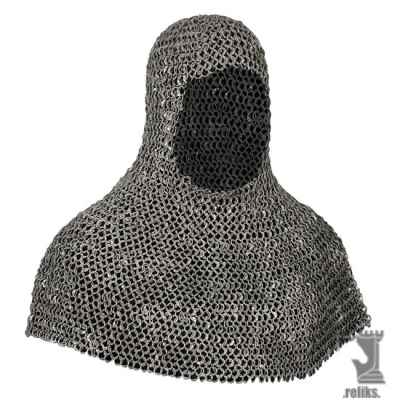 "Riveted Aluminum ""Battle Worn"" Mail Armour Coif"